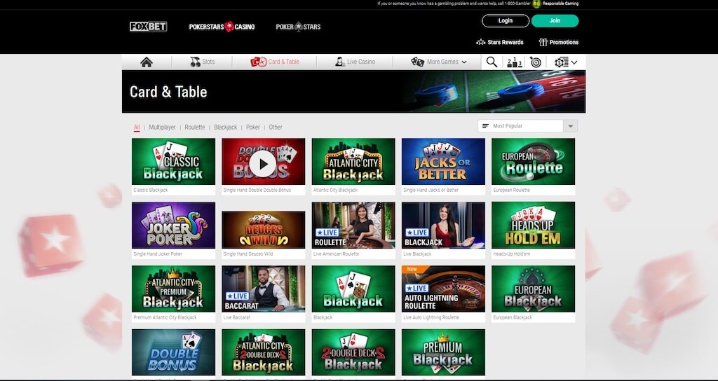 FOX Bet Casino Table Games