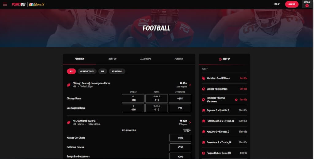 PointsBet Sportsbook Football Odds